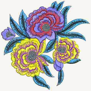 Trio Floral figuur Patch ontwerp