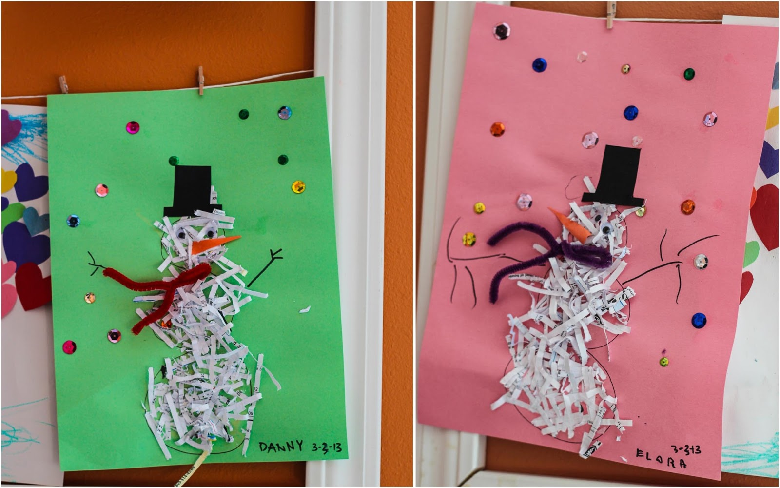 kids crafts, shredded paper snowmen on display