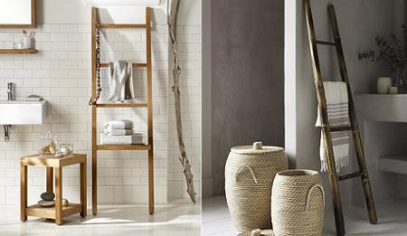 I d e a toallero como escalera - Toalleros de madera para bano ...