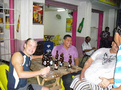 Knocking back a few beers with some of the locals in Maicao, Colombia. All good, honest, safe fun!
