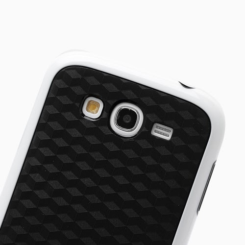 3D Cube TPU Case for Samsung Galaxy Grand I9080 Grand Duos I9082 - Black / White