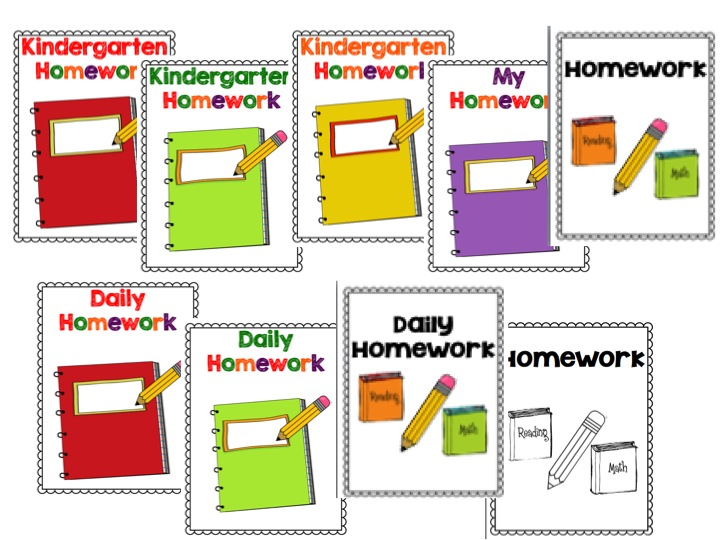 Homework Book Cover Printable ~ Time kindergarten homework folders and binders