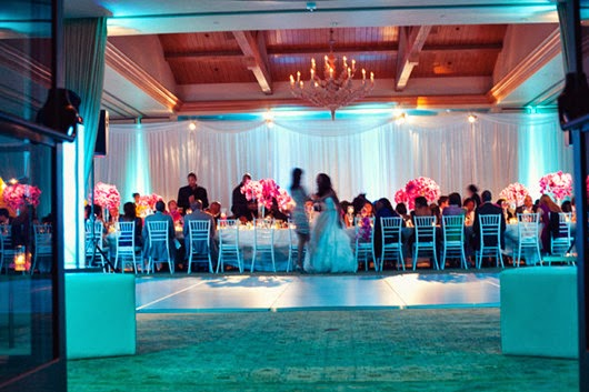 Aqua wedding Lighting reception party