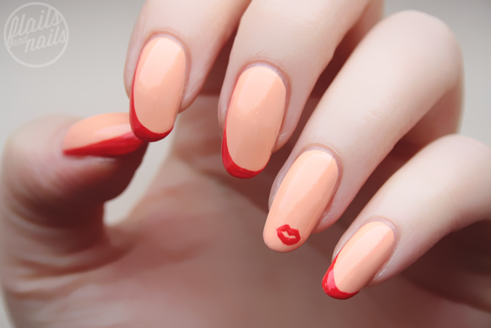 dita von teese inspired nail art with models own peach melba flails and nails. Black Bedroom Furniture Sets. Home Design Ideas