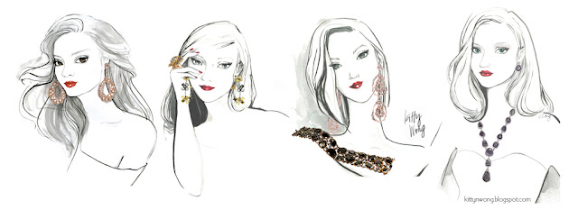 4 ink fashion sketches of girls and women wearing diamond earrings, necklaces, rings