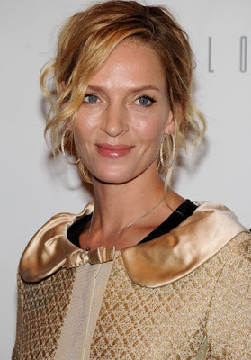 Uma Thurman Gold Hoop Earrings