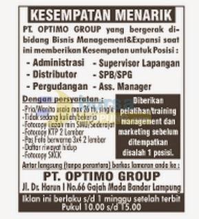 Lowongan Kerja PT Optimo Group Lampung, 24 Agustus 2014