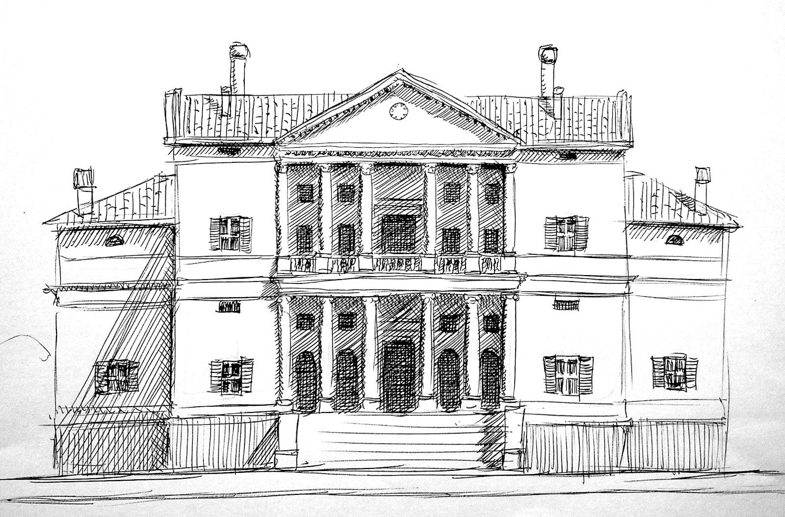 Villa Antica Con Giardino Da Colorare