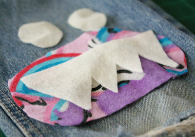 tutorial, mending, kids, pants, holes, monster, fun, simple, fast, no machine, jeans, patching