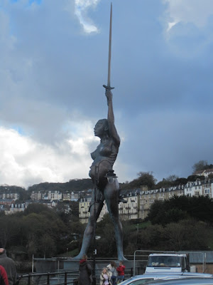 Damien Hirst sculpture, Verity on Ilfracombe harbour side