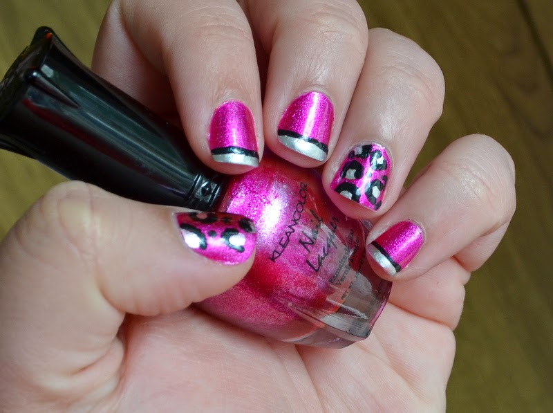 Metallic pink cheetah and french nail art