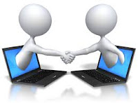 Two white 3-d stick figures shaking hands, each out of a laptop screen