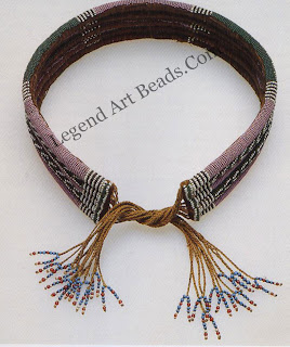 An umutsha, a late nineteenth- or early twentieth-century Zulu belt made of several beaded ropes sewn together It was worn by both young men and unmarried women. This is an example of a beadwork technique that developed at a time when beads became available in great quantities.