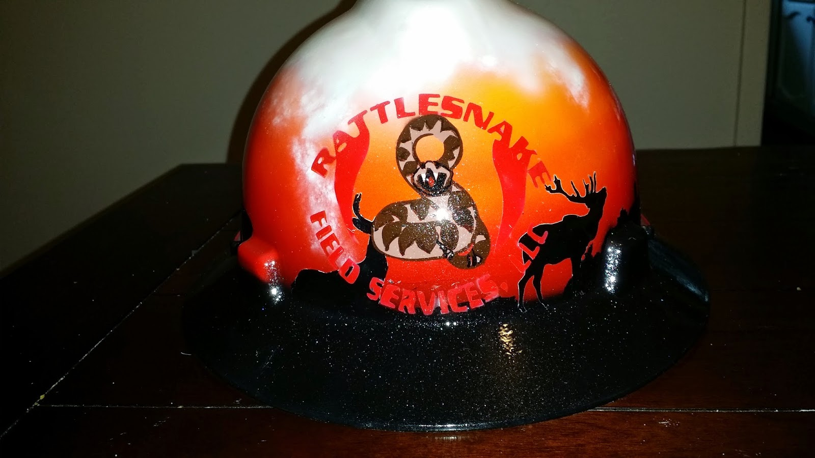 custom hard hat rattle snake field services