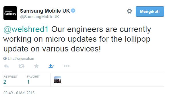 Samsung siapkan update kecil untuk perbaiki bug untuk semua perangkat yang menjalankan Lollipop