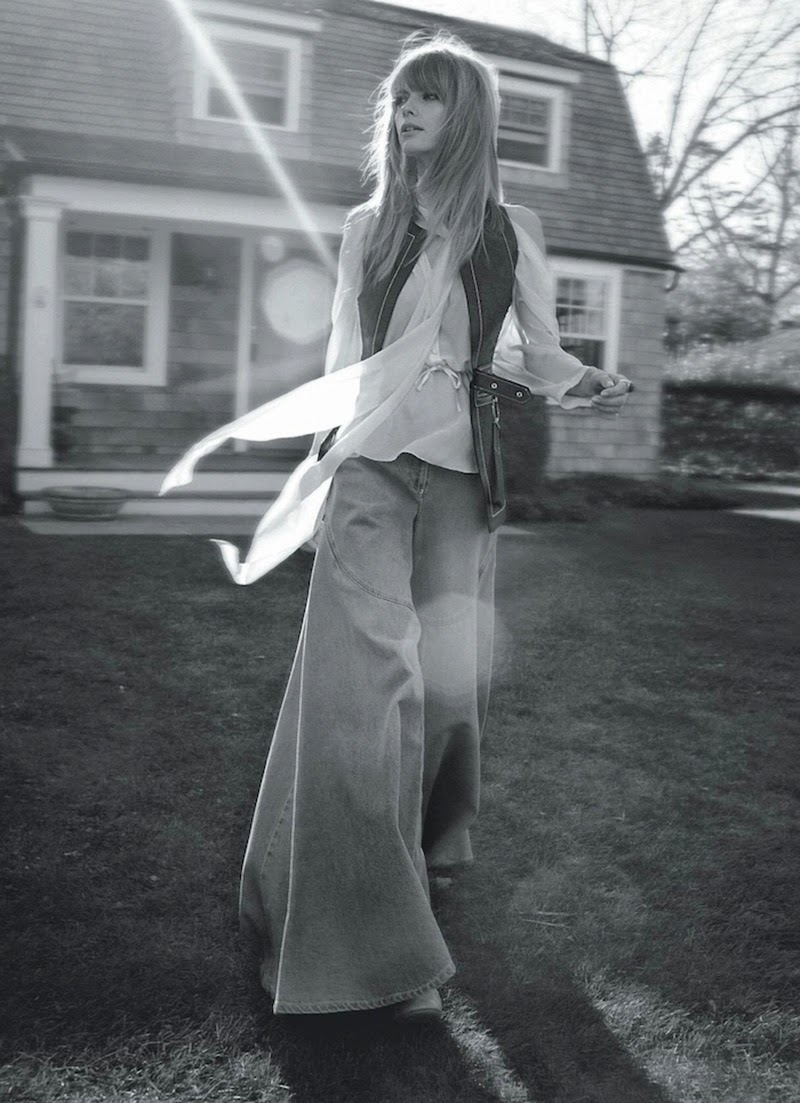 Flares, prints & flowing dresses … reminiscent of the classic 70′s style. Featuring Julia Stegner (& her baby daughter Emma), beautifully photographed by Julia's husband, Benny Horne & styled by Christine Centenera for Vogue Australia.