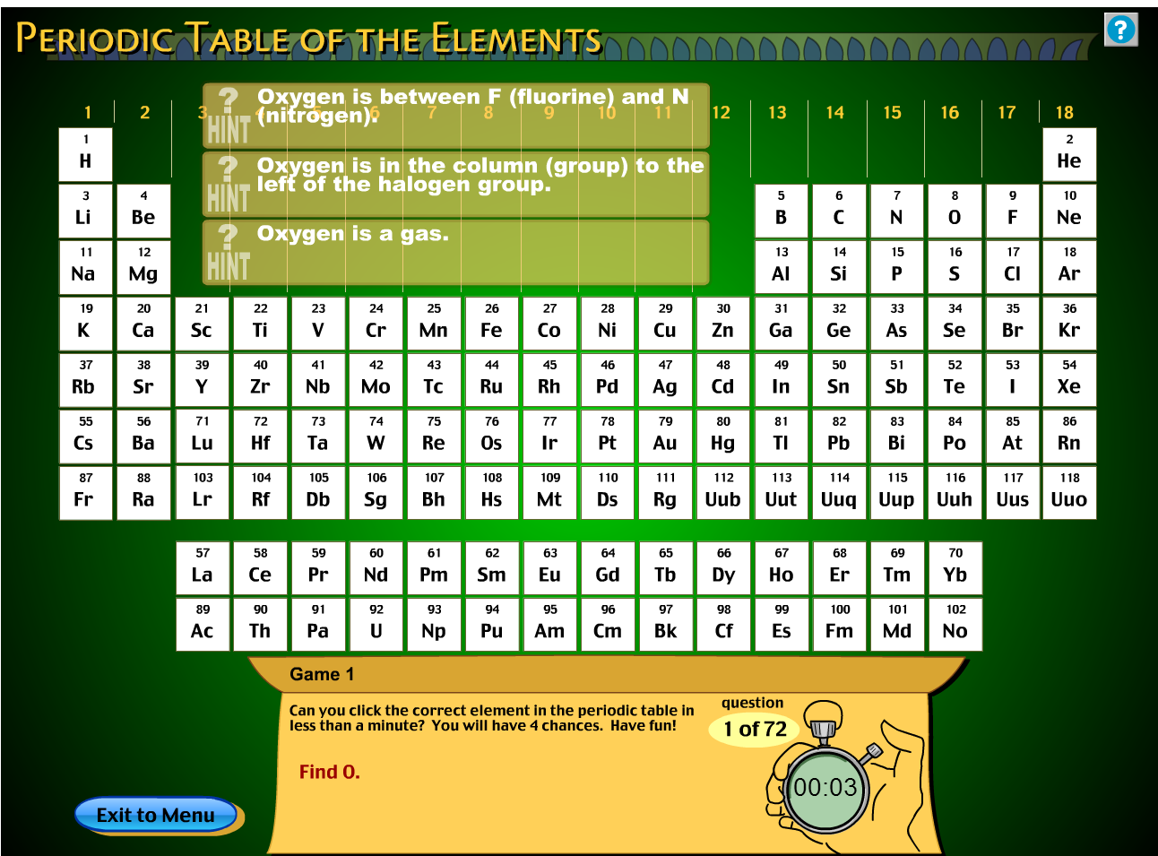 Technology rocks seriously interactive periodic tables games fossweb has a neat periodic table of the elements game that even will give you hints as you play urtaz Choice Image