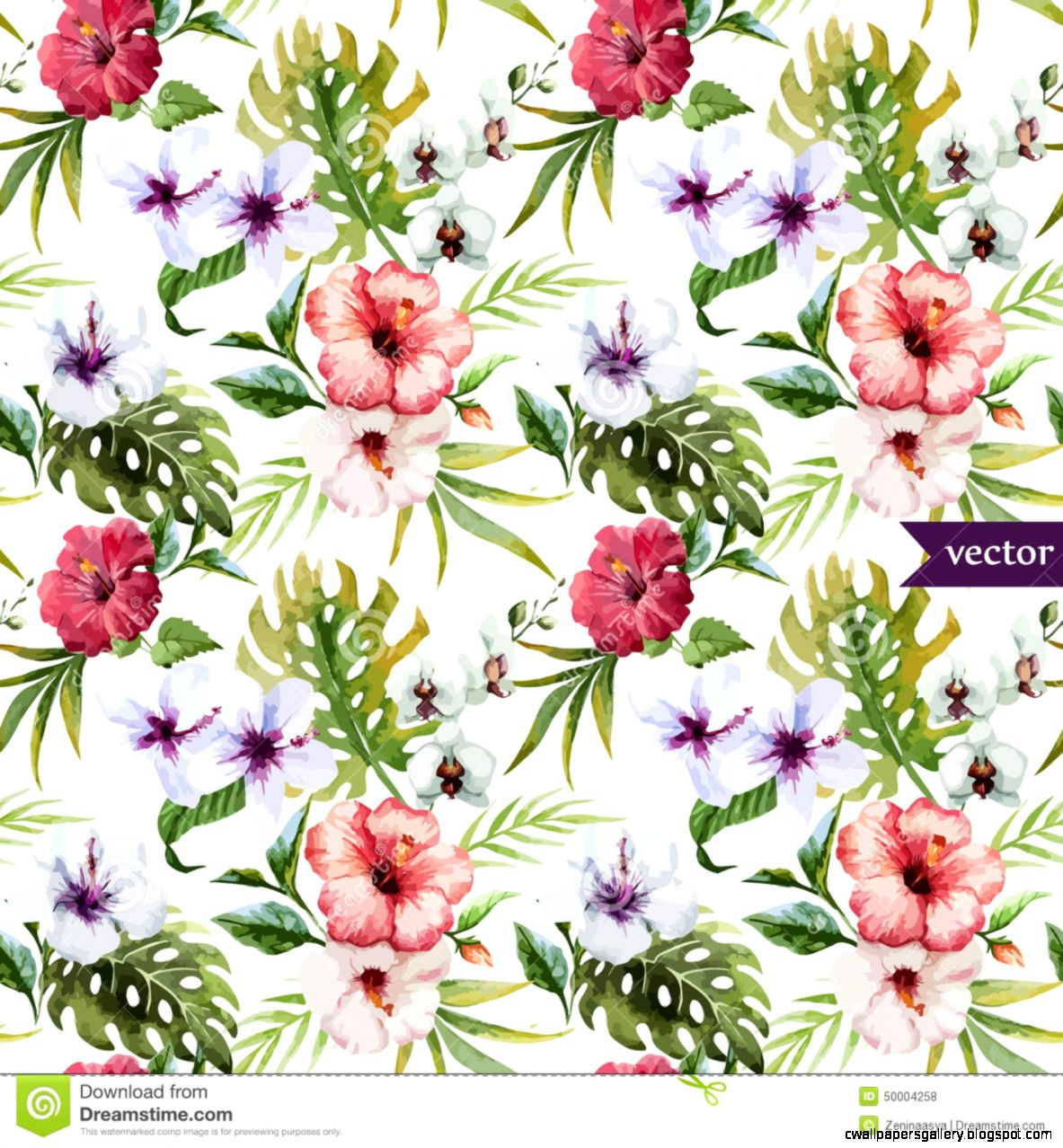 Watercolor Hibiscus Orchid White Palm Tropical Pattern