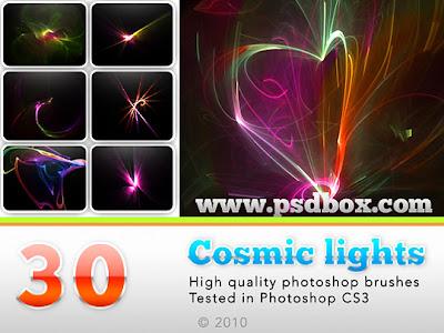فرش فوتوشوب أضواء الكونية باشكال مختلفة cosmic lights brushes Arab-Design