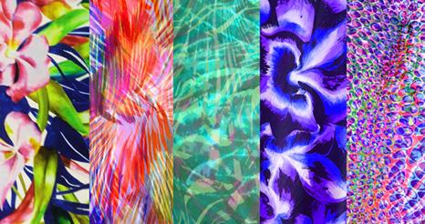 Digital fashion print designs tropical flowers colourful spring silk summer trend exotic