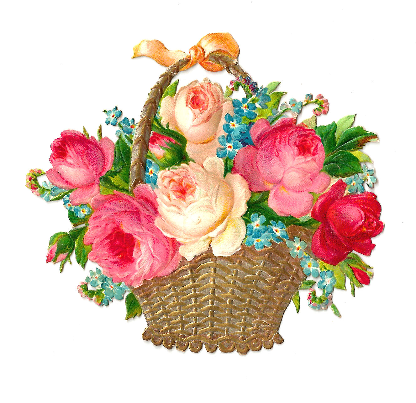 Flower Baskets Photos : Antique images free flower clip art vintage pink and red