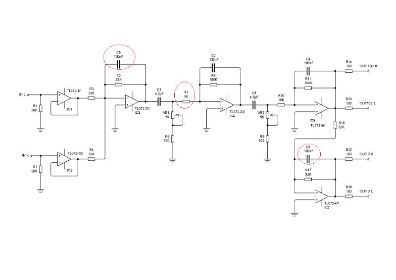 TL072 Op-Amp based 11-90 hz Subwoofer Filter