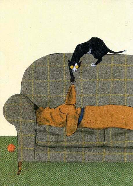 cat and dog on a sofa illustration by Greman illustrator Wolf Erlbruch