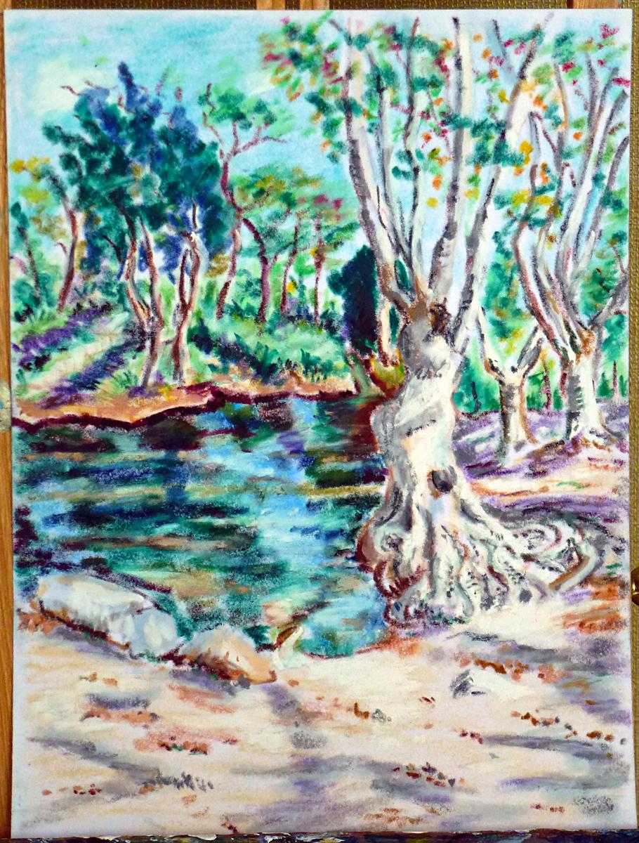 Art de vivre la peinture de peintrefiguratif dessin pastel gras paysage du lirou dans l 39 h rault for Peinture pastel gras