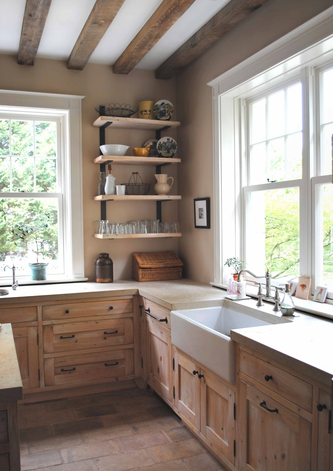 Tone on tone old and new in kitchen renovation for Farmhouse kitchen ideas