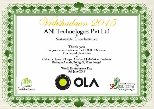 Ola Cabs reduces its carbon footprinf by planting trees