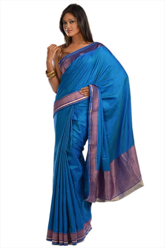 Cobalt Blue Kattan Silk Banarasi Saree