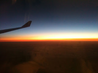Colors of the sunrise over Korea from the airpane.