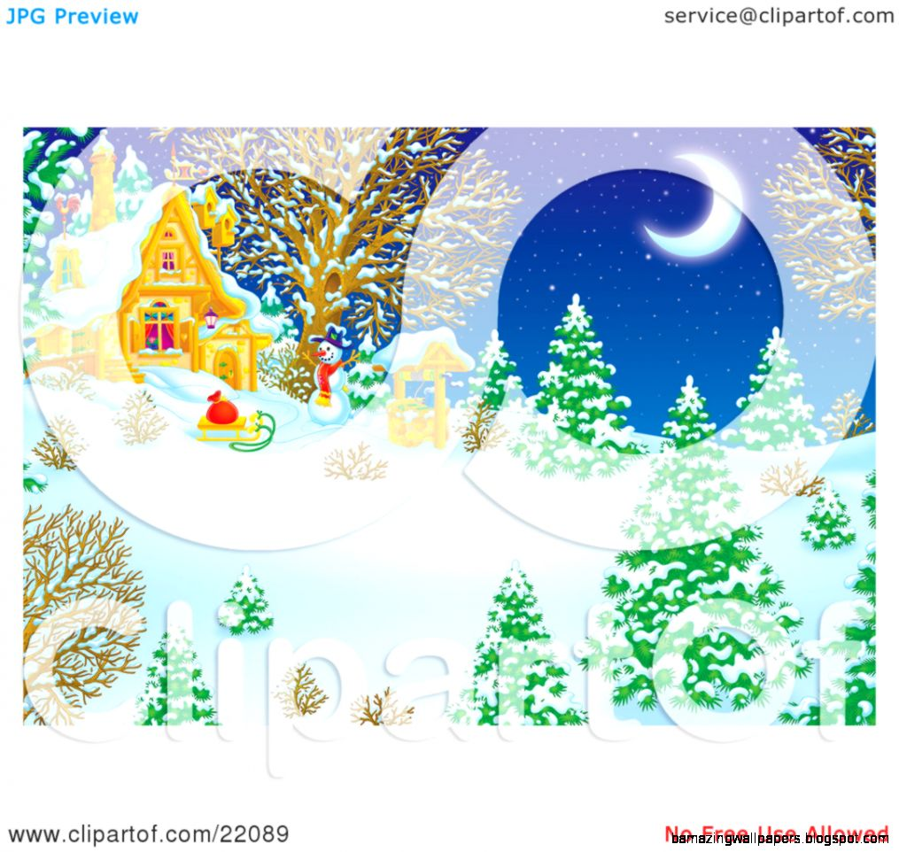 Clipart Illustration of a Winter Wonderland Of Snow Flocked