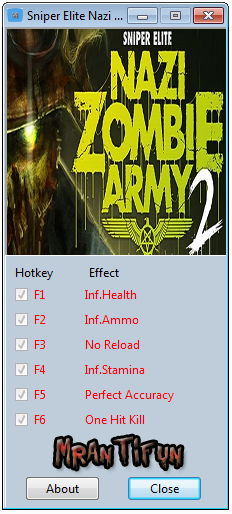 Sniper Elite Nazi Zombie Army 2 v1.0 Trainer +6 [MrAntiFun]