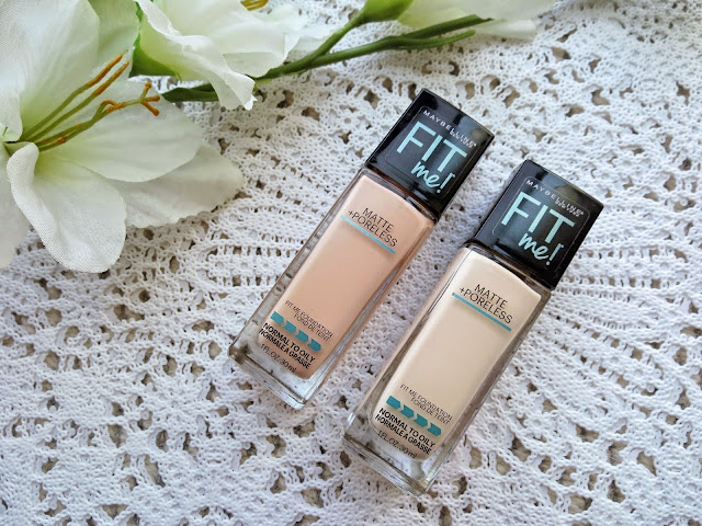 a picture of Maybelline Fit Me Matte+Poreless Foundation in 115 Ivory and 110 Porcelain