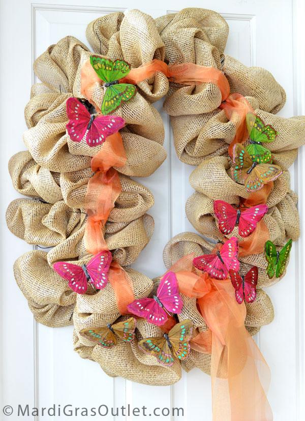 Burlap, Wreath, Deco Mesh, Tutorial, DIY, Twig Works, Natural Decor, Butterflies, Spring Decorating