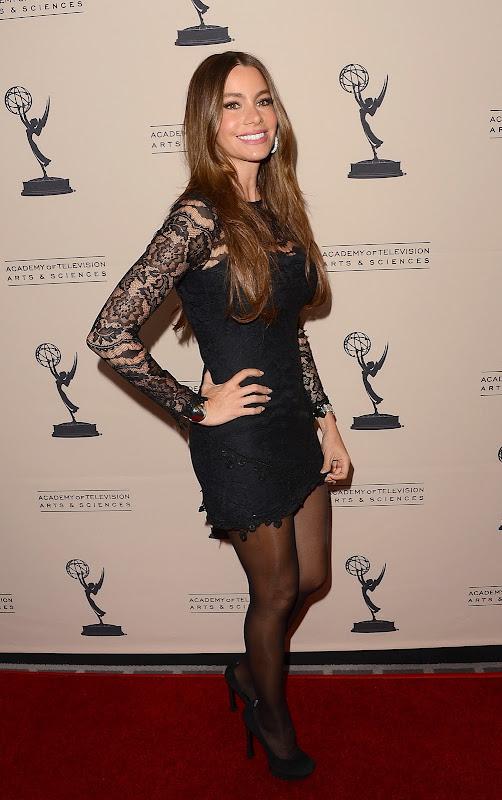 Sofia Vergara glamorous in a short black dress