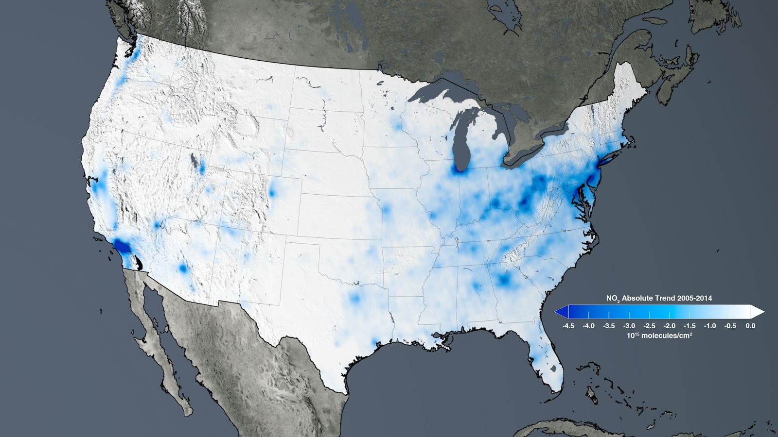 image above the trend map of the united states shows the large decreases in nitrogen dioxide concentrations tied to environmental regulations from 2005 to