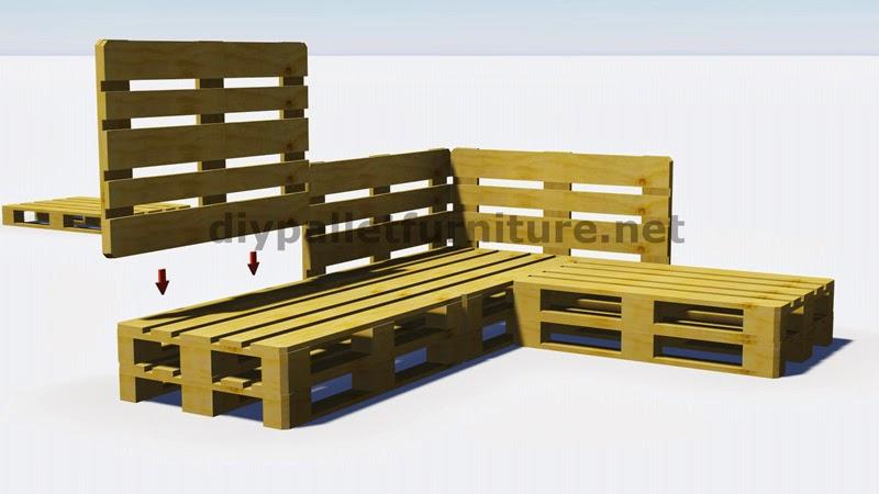 Instrucciones y planos en 3d de como - Canape fait avec des palettes ...
