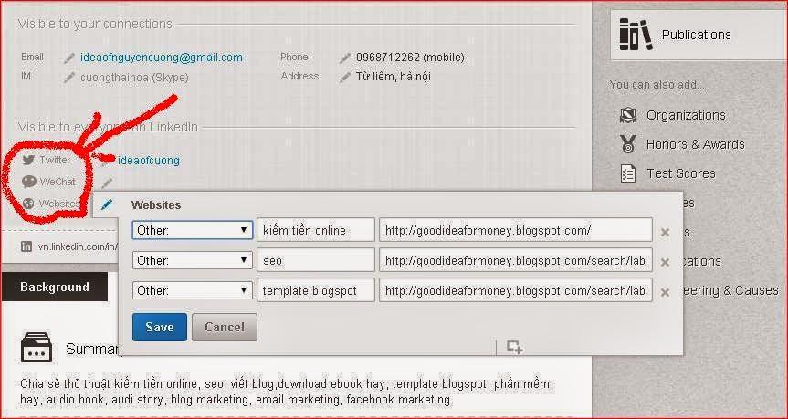 thủ thuật đặt backlink trên linkedin