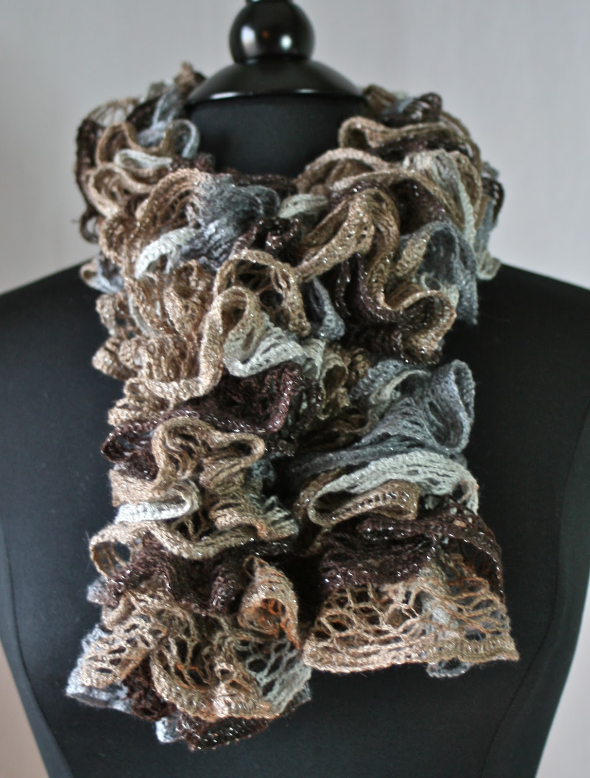 Crochet Scarf Pattern With Sashay Yarn : Knots-n-Knits: Crocheted Ruffled Scarves - Sashay vs ...
