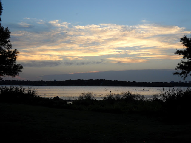 The evening sets in at White Rock Lake, Dallas, Texas
