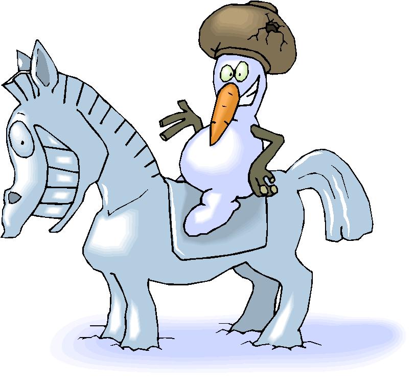 Snowman Ride a Snow Horse Free Clipart