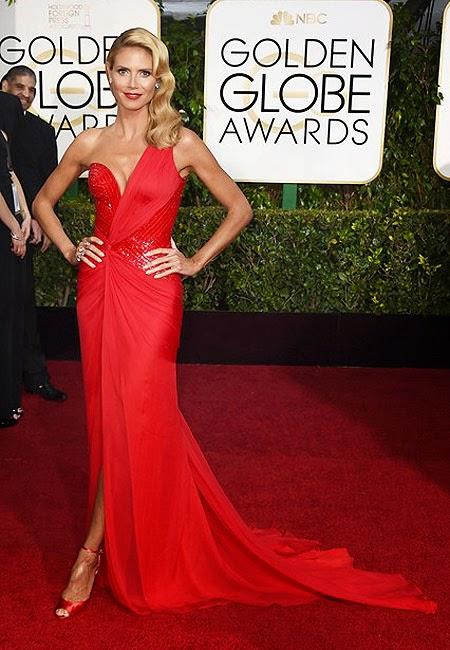 Хайди Клум в рокля Versace на наградите Златен глобус 2015