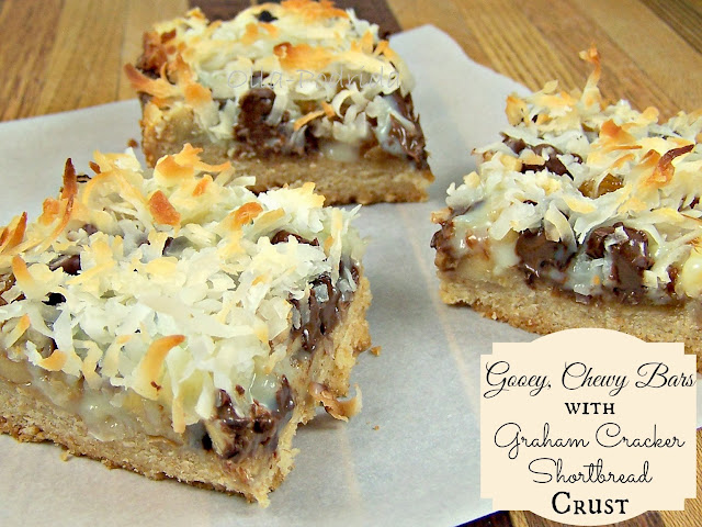 gooey, chewy bars with graham cracker shortbread crust