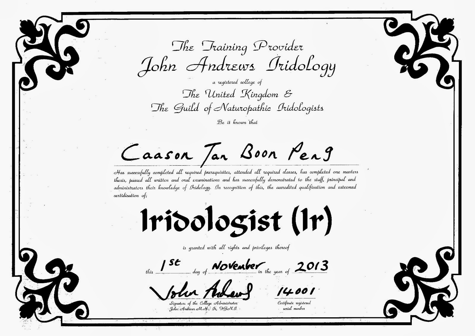 Certified Iridologist (Ir)