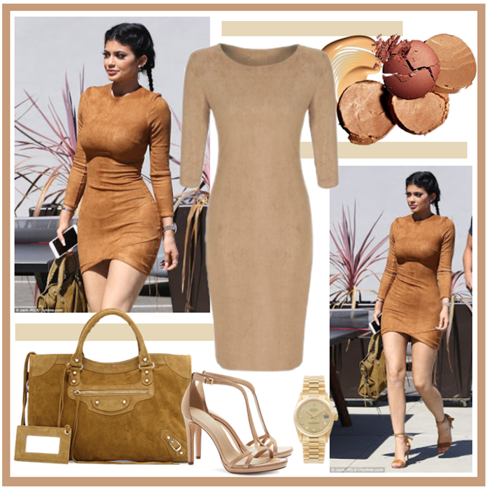kylie jenner look abito suede