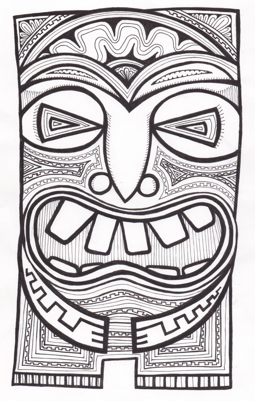 Stitchlily How To Draw A Tiki Head Tiki Coloring Pages