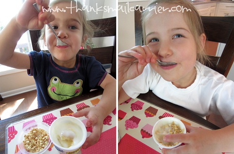 kids eating yogurt