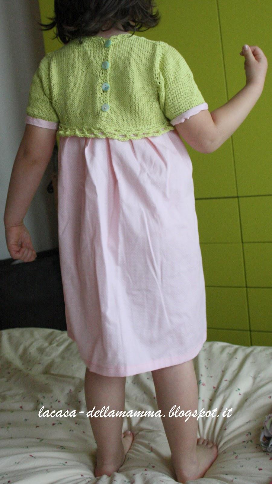 La Casa Della Mamma Vestito Per Bambina Con Corpetto Maglia E Uncinetto